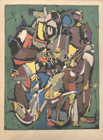 Lithographie Lanskoy - Composition sur fond vert