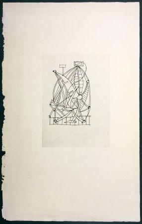 Eau-Forte Dominguez - Composition surréaliste pour Poésie de Mots Inconnus (Iliazd 1949)