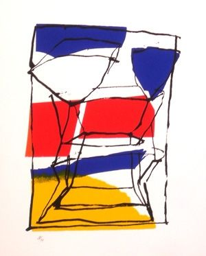 Sérigraphie Pincemin - Composition tricolore