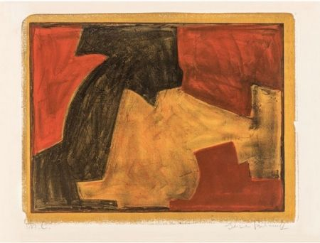 Lithographie Poliakoff - Composition verte, bleue et rouge n°48