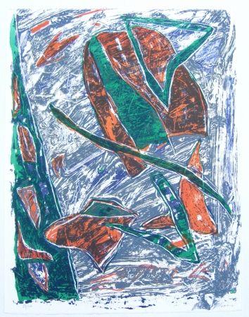 Lithographie Humair - Composition verte et rouge