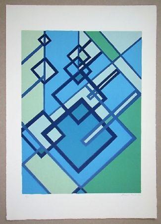 Lithographie Radice - Compositione astratta blu verde