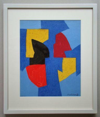 Lithographie Poliakoff - Compsition bleue, rouge et jaune
