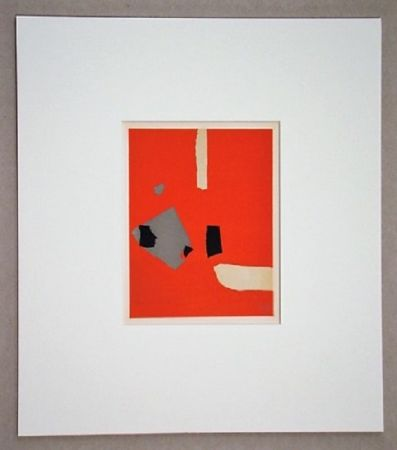 Lithographie De Stael - Compsition Sur Fond Orange