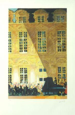 Lithographie Ambille - Concert au chateau