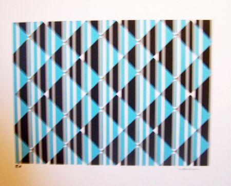 Sérigraphie Perez - Conposition cinétique turquoise