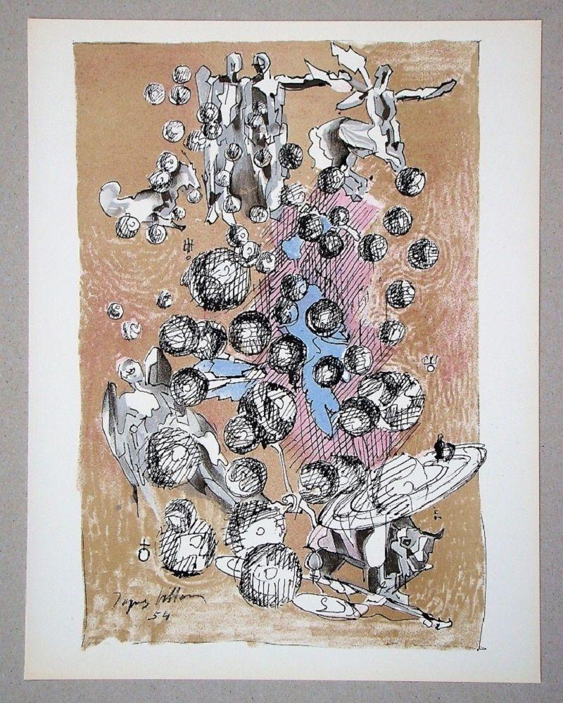 Lithographie Villon - Constellation planétaire, 1954