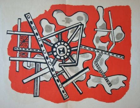 Lithographie Leger - Construction sur fond rouge