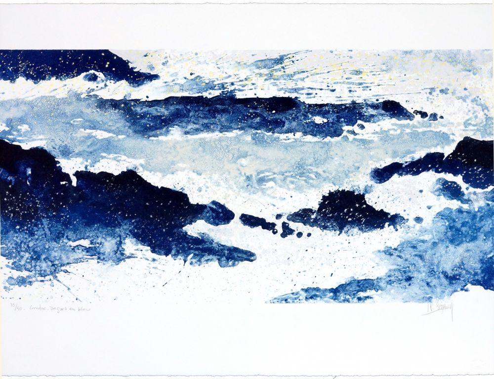 Lithographie Stholl - Contre-vagues en bleu