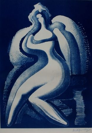 Lithographie Archipenko - Coquette (Blue Nude)