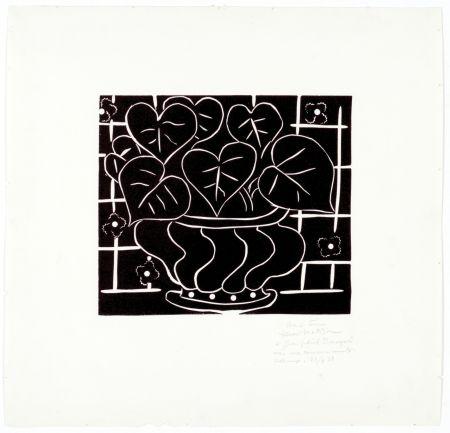 Linogravure Matisse - Corbeille de bégonias I