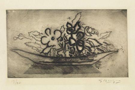 Aquatinte Braque - Corbeille de fleurs