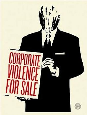 Sérigraphie Fairey - Corporate Violence for Sale