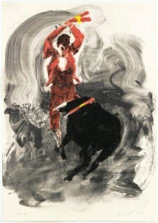 Lithographie Fischl - Corrida