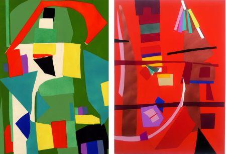 Pochoir Lanskoy - CORTÈGE. Pochoirs originaux n° 18 et 19 (1959)