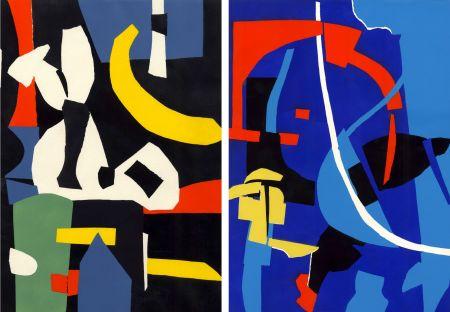 Pochoir Lanskoy - CORTÈGE. Pochoirs originaux n° 1 et n° 2 (1959)
