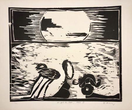 Gravure Sur Bois Alechinsky - Coucher de soleil « Au fil du bois »