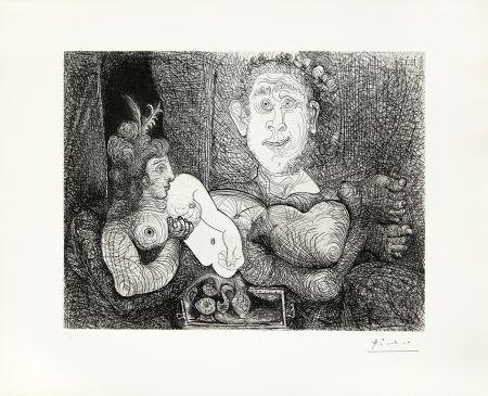 Gravure Picasso - Coulisses du tableau, odalisque et peintre