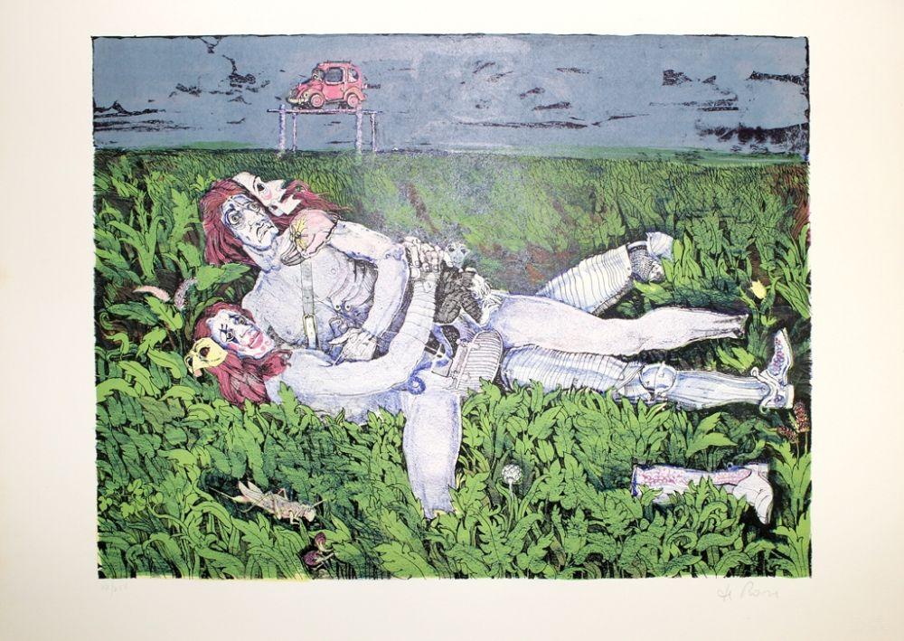 Lithographie De Rosa - Couple