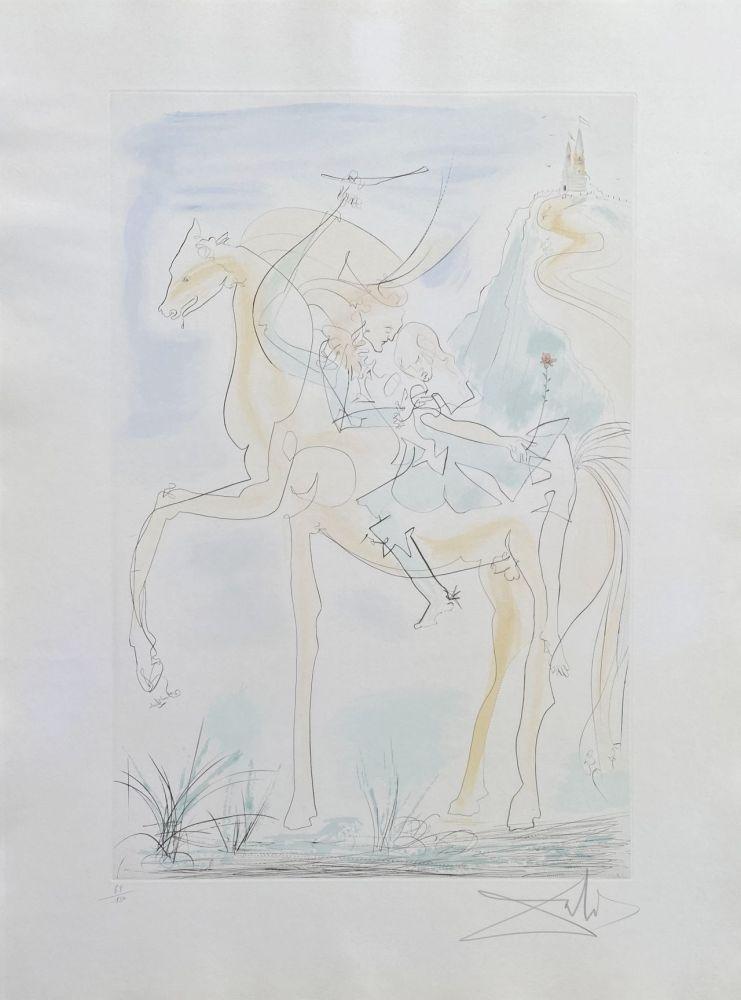 Gravure Dali - Couple à cheval