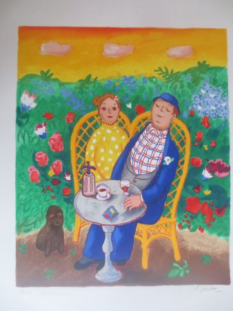 Lithographie Jirlow - Couple assis