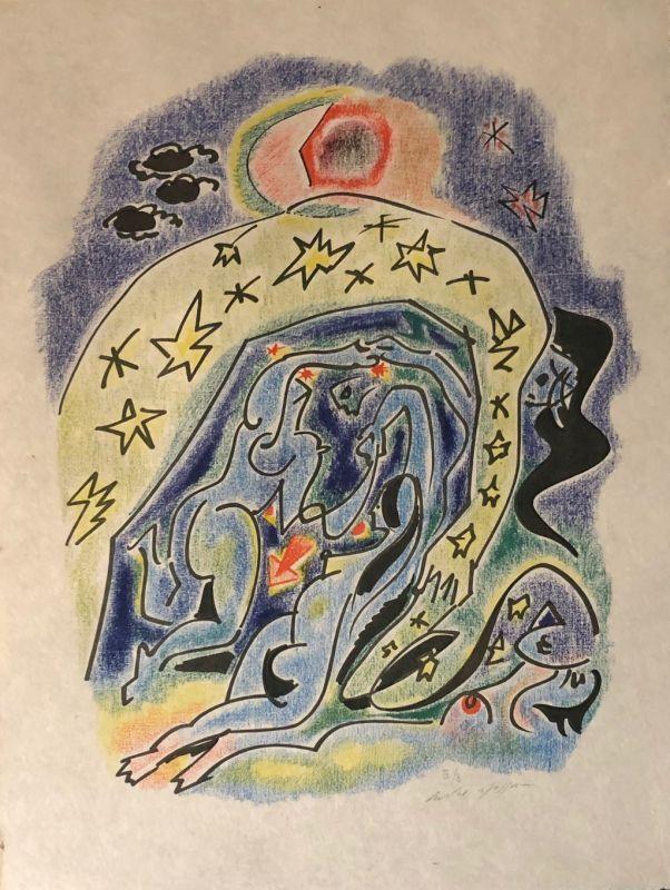 Lithographie Masson - Couple aux étoiles