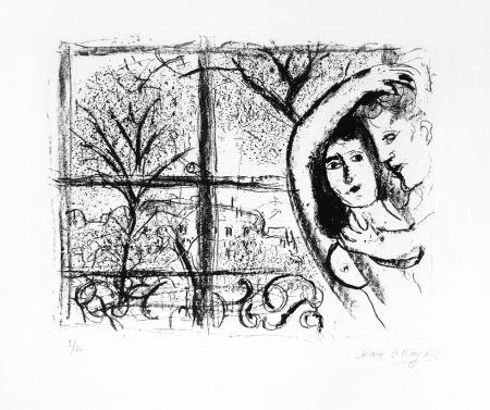 Lithographie Chagall - Couple dans la fenête