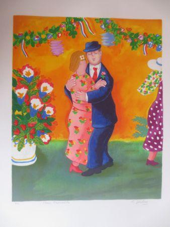 Lithographie Jirlow - Couple dansant