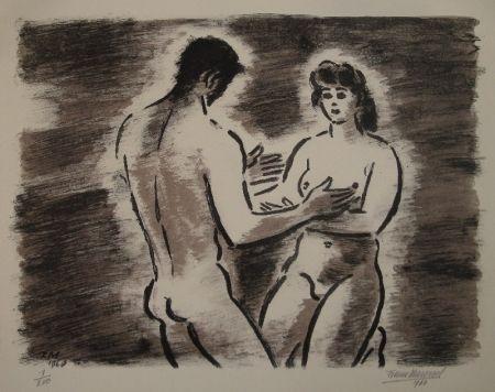 Lithographie Masereel - Couple de nus