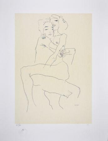 Lithographie Schiele - Couple enlacé / couple embracing - 1911