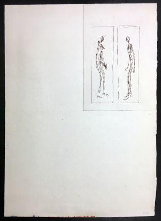 Eau-Forte Giacometti - Couple face à face (Iliazd: Poésie de Mots Inconnus. 1949)