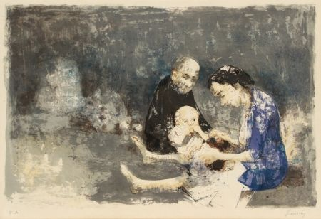 Lithographie Jansem - Couple with baby