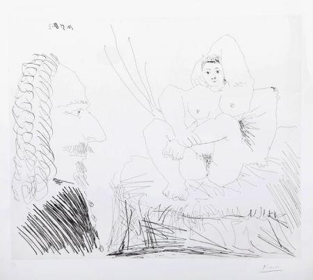Gravure Picasso - Courtisane au lit avec un visiteur  from the 347 Series