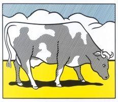 Sérigraphie Lichtenstein - Cow going abstract tryptique part 1