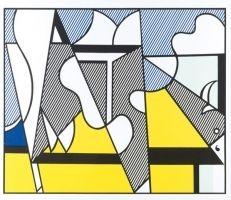 Sérigraphie Lichtenstein - Cow going abstract tryptique part 2