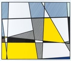 Sérigraphie Lichtenstein - Cow going abstract tryptique part 3