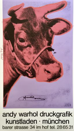 Sérigraphie Warhol - 'Cow Wallpaper (Purple)' Hand Signed Exhibition Poster