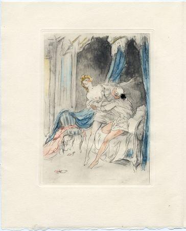Livre Illustré Icart - Crébillon : LA NUIT ET LE MOMENT. 25 eaux-fortes de Louis Icart (1946).