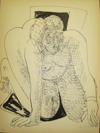 Lithographie Beckmann - Crawling Woman