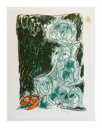 Lithographie Alechinsky - Crayon sur coquille - Le hasard et sa mère