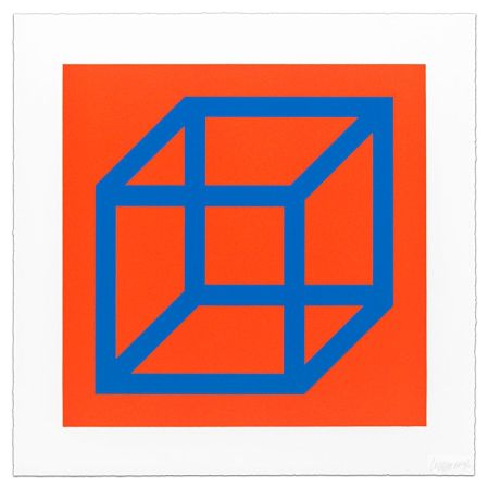 Linogravure Lewitt - Cubes in Color on Color