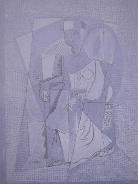 Lithographie Lhote - Cubistic woman (femme assise)