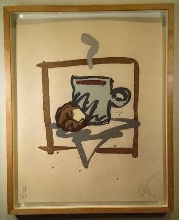 Gravure Sur Bois Oldenburg - Cup Of Joe With Donut