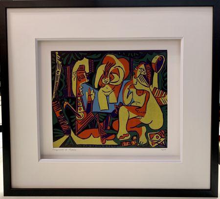 Linogravure Picasso - Déjeuner sur l'herbe