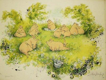 Lithographie Searle - Déjeuner sur l'herbe