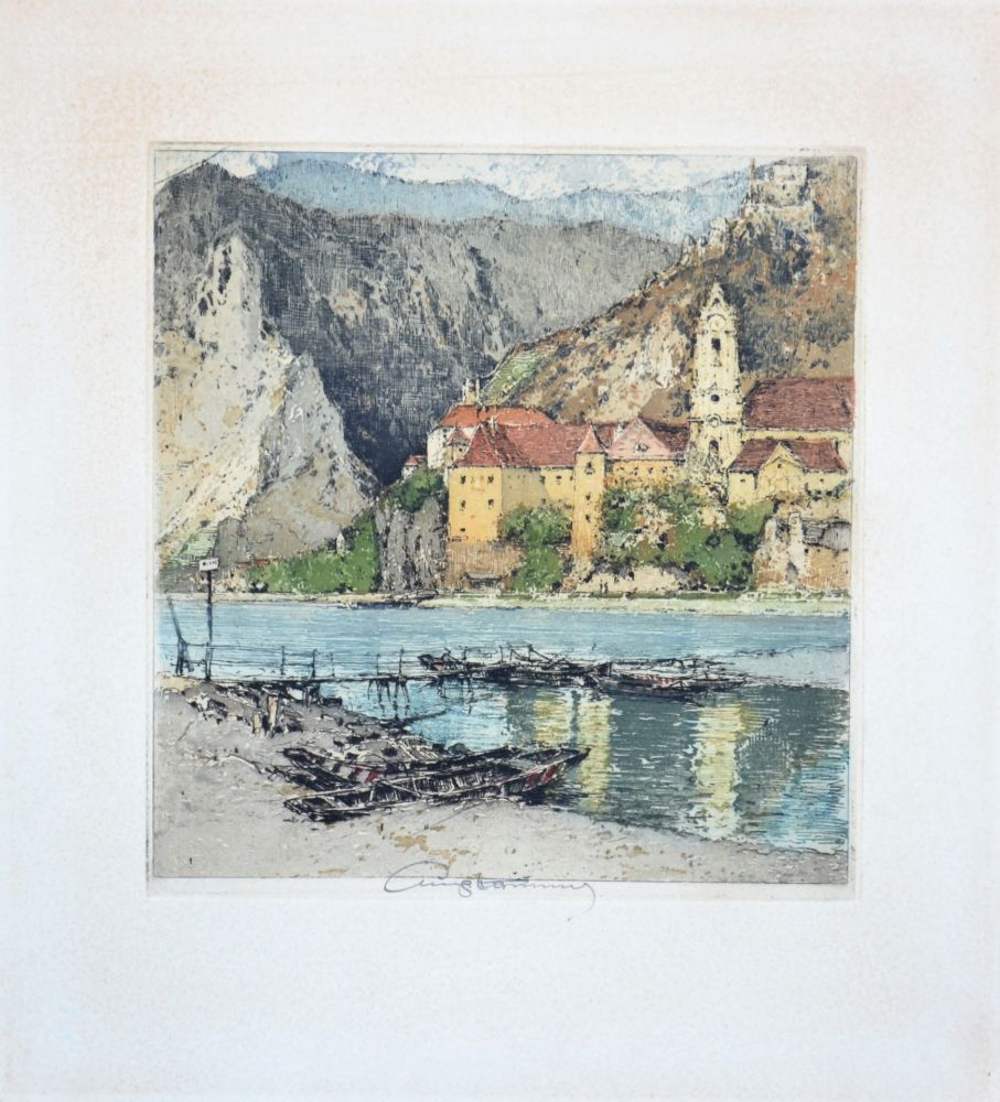 Aquatinte Kasimir - Dürnstein an der Donau