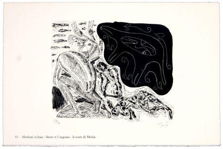 Lithographie Nørgaard - D. Abraham et Isaac - Søren et l'angoise - la route de Morija