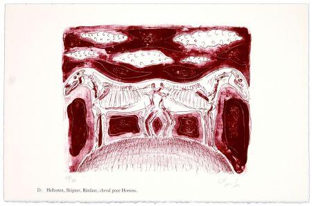Lithographie Nørgaard - D. Helhesten, Sleipner, Rimfaxe, cheval pour Horsens
