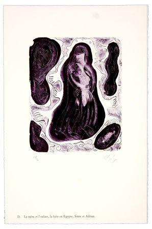 Lithographie Nørgaard - D. La mère et l'enfant, la fuite en Egypte, Sinne et Adrian