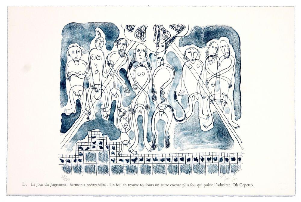 Lithographie Nørgaard - D. Le jour du jugement - harmonia prêstrabilita - Un fou en trouve toujours un autre encore plus fouqui puisse l'admirer. Oh Cepetto